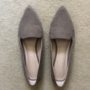 Taupe Pointed Toe Suede Loafers